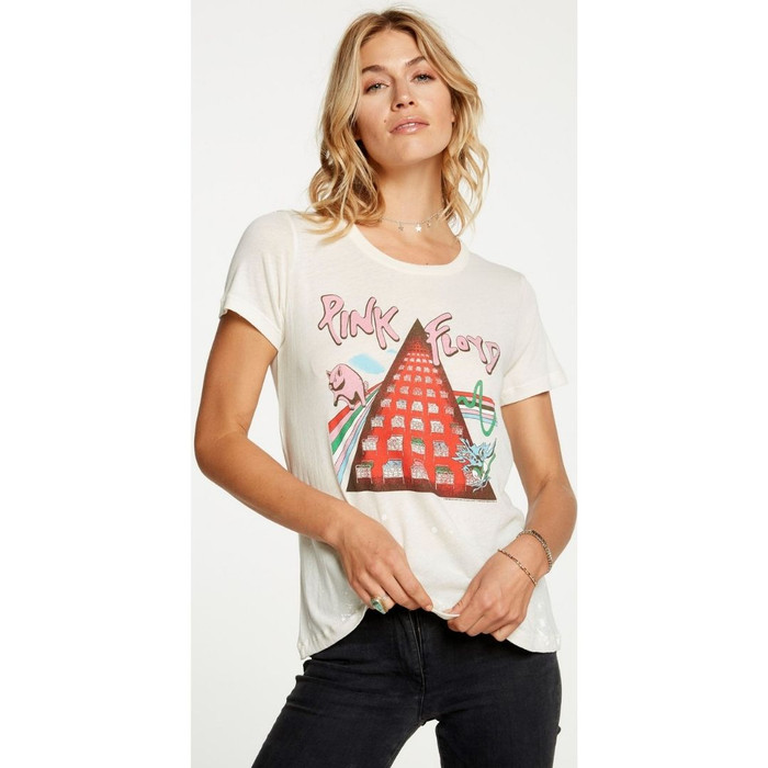 Pink Floyd Album Covers Artwork Women's White Paint Splatter Distressed Fashion T-shirt by Chaser - front