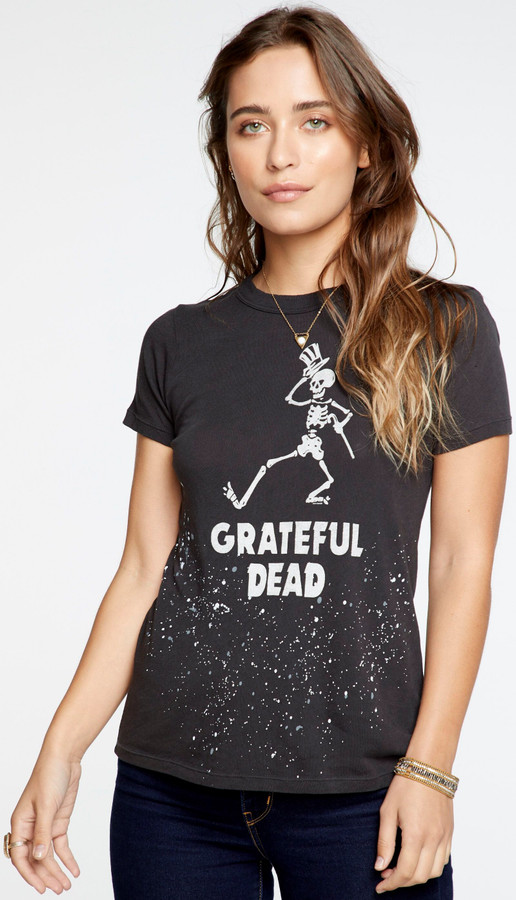 Grateful Dead Dancing Skeleton Logo Women's Black Vintage Distressed Fashion T-shirt by Chaser - front