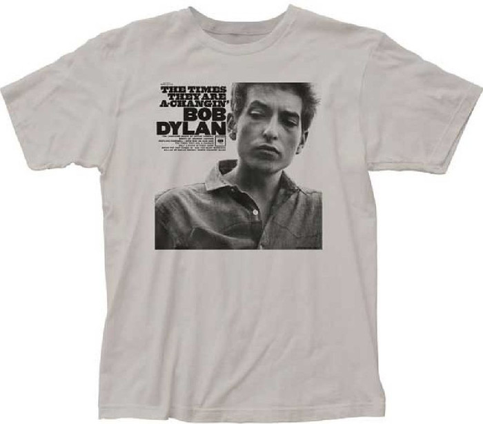 Bob Dylan The Times They Are a Changin' Album Cover Artwork Men's Silver Gray T-shirt