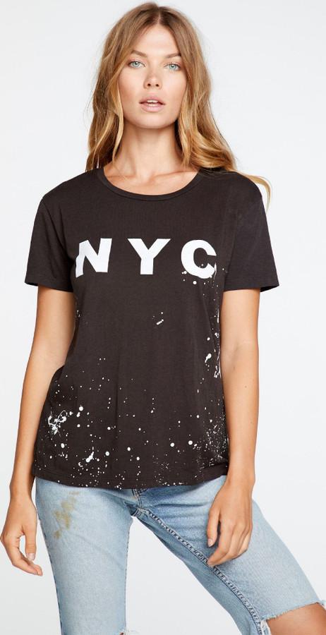 NYC New York City Logo Women's Black Vintage Distressed Fashion T-shirt - front