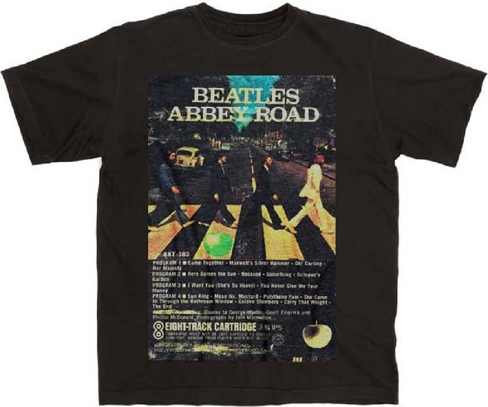 The Beatles Abbey Road Eight 8-Track Cartridge Cassette Album Cover Artwork Men's Unisex Black Vintage Fashion T-shirt