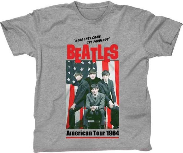 The Beatles American Tour 1964 Men's Unisex Heather Gray Vintage Fashion Concert T-shirt