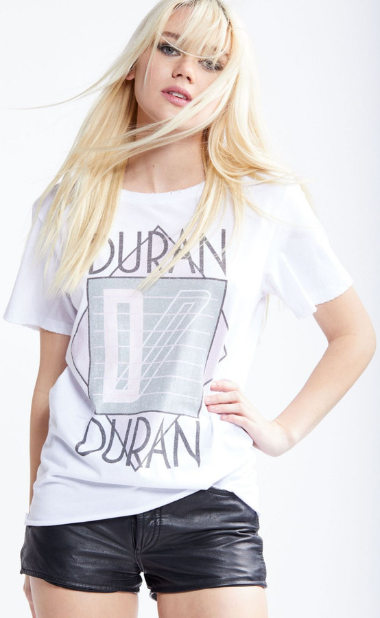 Duran Duran Logo from Seven and the Ragged Tiger Album Cover Women's White Distressed Fashion T-shirt by Recycled Karma - front