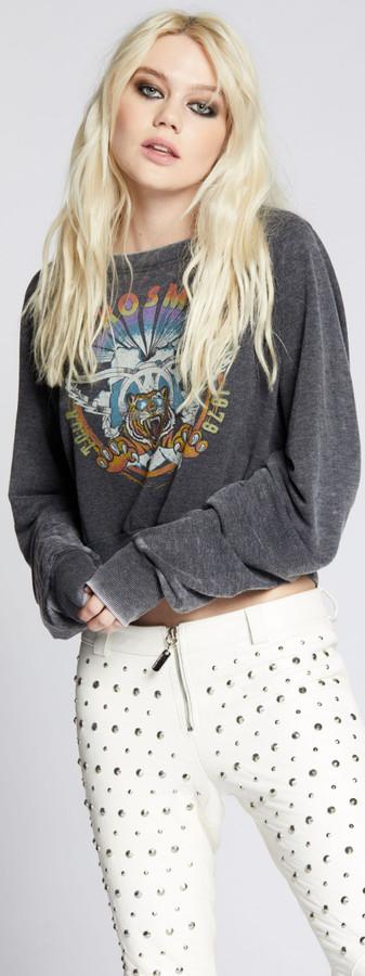 Aerosmith Tour 1979 Women's Black Vintage Fashion Concert Sweatshirt by Recycled Karma - 1