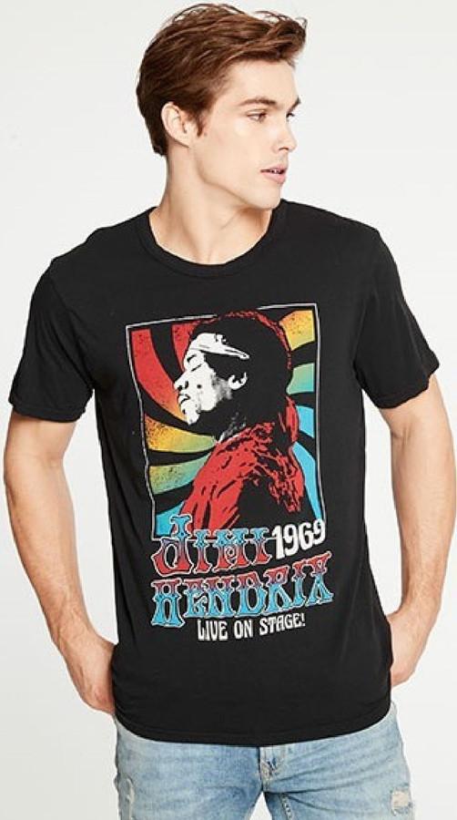 Jimi Hendrix Live on Stage 1969 Men's Black Vintage Fashion Concert T-shirt by Chaser