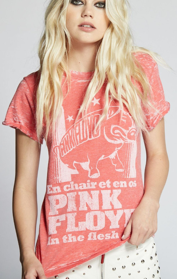 Pink Floyd In the Flesh Animals Tour Women's Red Distressed Vintage Fashion Concert T-shirt by Recycled Karma - front