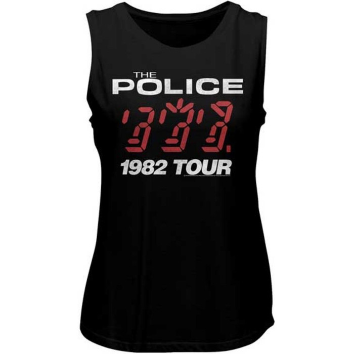 The Police 1982 Tour Women's Black Vintage Fashion Sleeveless Muscle Tank Top Concert T-shirt