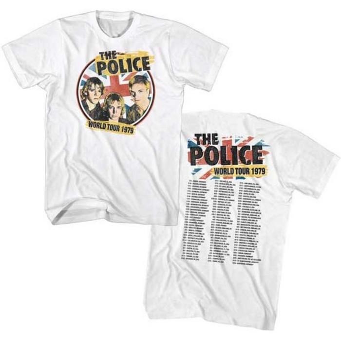The Police World Tour 1979 Men's Unisex White Vintage Concert T-shirt