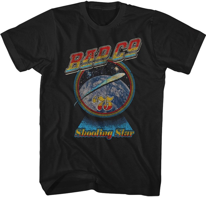 Bad Company Shooting Star '75 Men's Unisex Vintage Black Fashion T-shirt