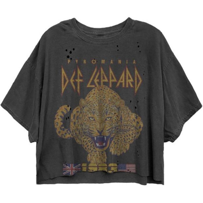 Def Leppard Pyromania Tour 1983 Women's Black Vintage Fashion Oversize Crop Top Concert T-shirt by Dirty Cotton Scoundrels