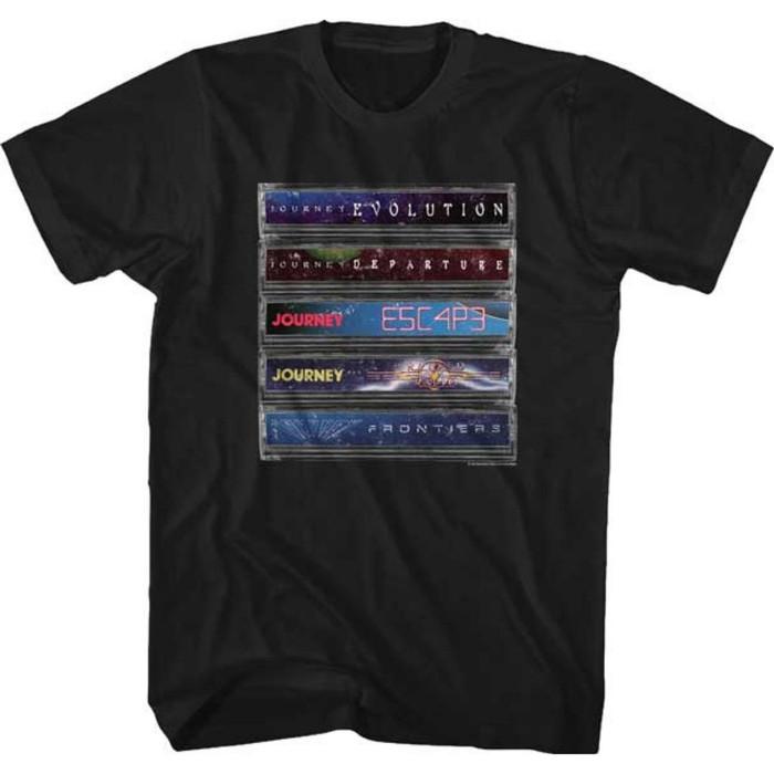 Journey Stacked Cassettes Tapes Albums Men's Unisex Black Vintage Fashion T-shirt