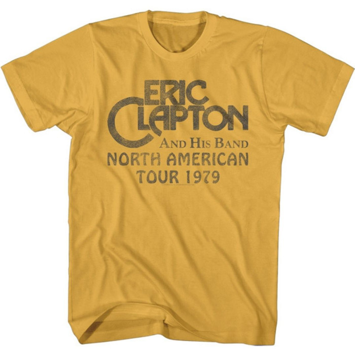 Eric Clapton and His Band North American Tour 1979 Men's Unisex Vintage Yellow Fashion Concert T-shirt
