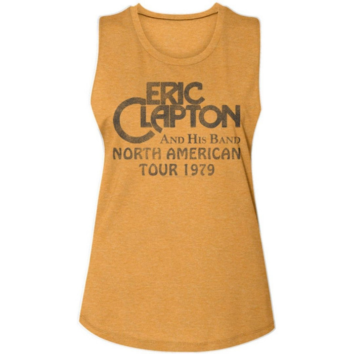 Eric Clapton and His Band North American Tour 1979 Women's Gold Vintage Sleeveless Muscle Tank Top Fashion Concert T -shirt