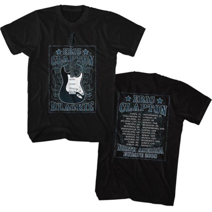 Eric Clapton North America Europe Blackie Tour 2008 Men's Unisex Black Vintage Concert T-shirt
