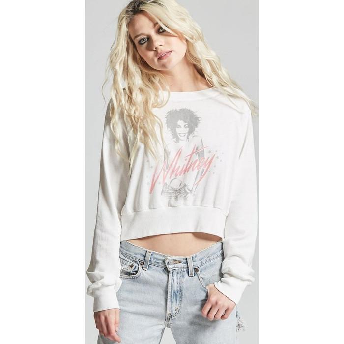 Whitney Houston Whitney Album Cover Artwork Women's White Vintage Cropped Fashion Sweatshirt by Recycled Karma - front