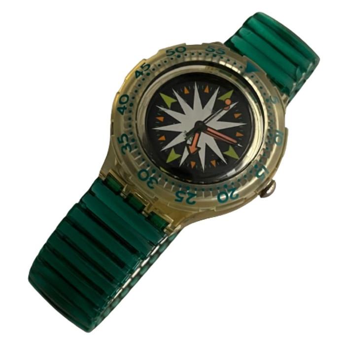 Swatch Scuba 200 SDK108 SDK109 Mint Drops Vintage Unisex Fashion Divers Watch - front
