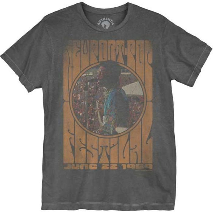 Jimi Hendrix Newport Pop Festival June 22, 1969 Men's Unisex Black Vintage Fashion Concert T-shirt by Dirty Cotton Scoundrels