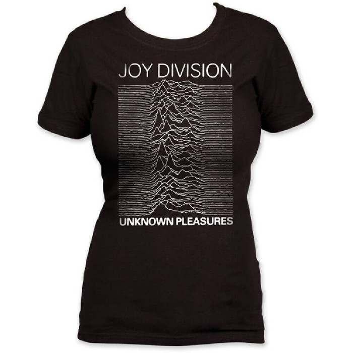Joy Division Unknown Pleasures Debut Album Cover Artwork Women's Black Vintage T-shirt