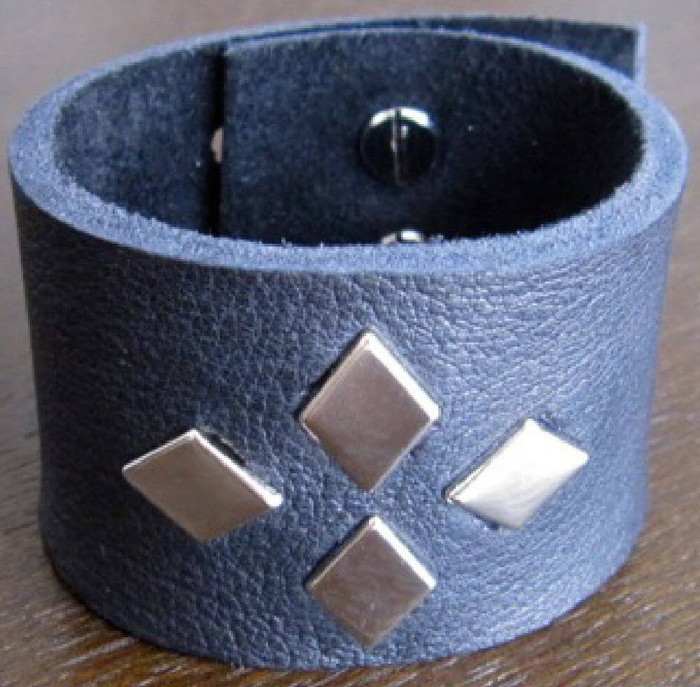 Rocker Rags Black Leather Cuff Bracelet with Four Metal Diamond Studs