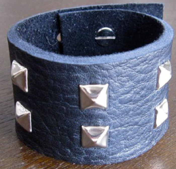 Rocker Rags Black Leather Cuff Bracelet with Nickel Plated Square Metal Studs