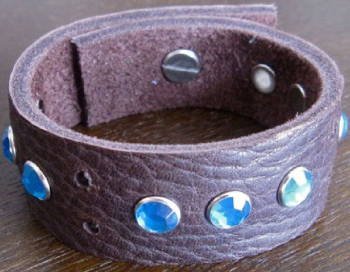 Rocker Rags Chocolate Brown Leather Bracelet with Grouped Blue Crystals