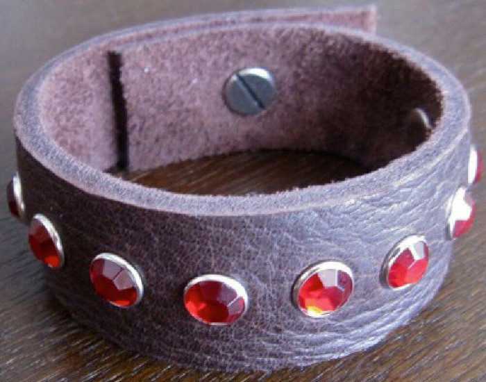 Rocker Rags Chocolate Brown Leather Cuff Bracelet with Grouped Red Crystals