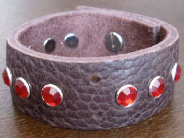 Rocker Rags Chocolate Brown Glove Leather Bracelet with Grouped Red Crystals