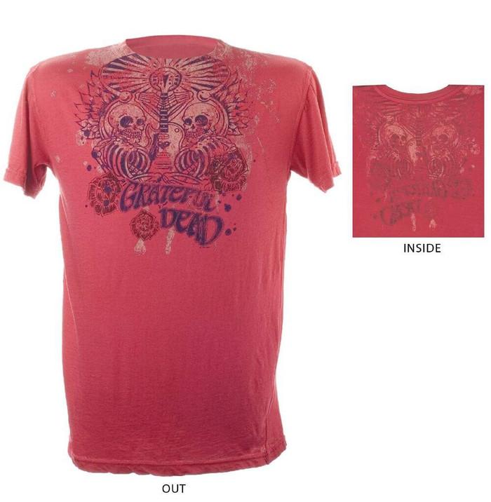 Grateful Dead Skeleton Guitar Logo Men's Red Reversible Vintage T-shirt