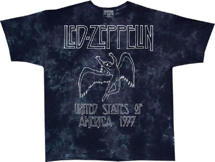 Led Zeppelin United States of America 1977 Tour Men's Black Tie-Dye Concert T-shirt
