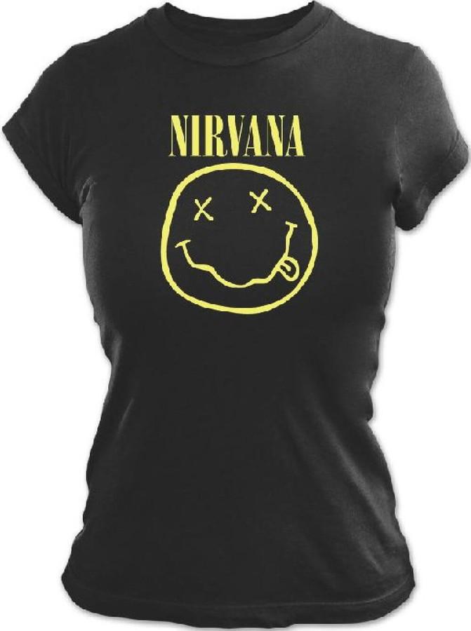 Nirvana Smiley Face Logo Women's Black T-shirt
