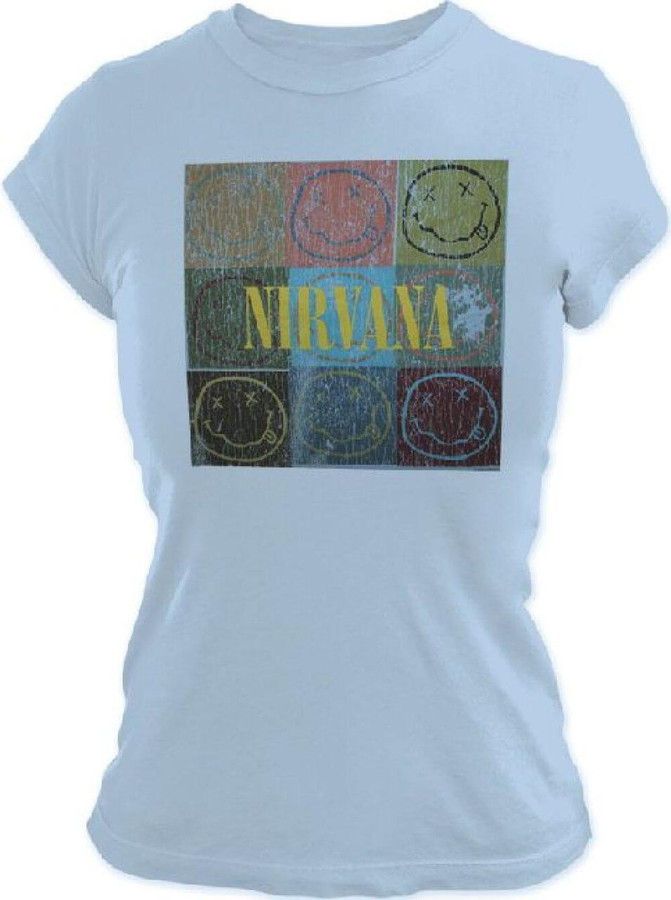Nirvana Smiley Face Logo in Stacked Square Colored Boxes Women's Light Blue Vintage T-shirt