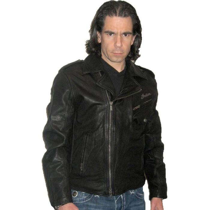 Indian Motorcycle Ranger Biker Black Leather Jacket - front