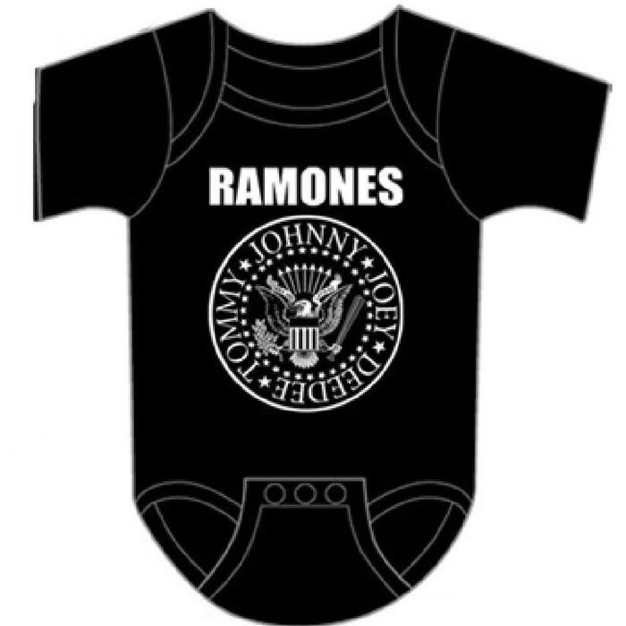 Ramones Presidential Seal Logo Baby Onesie Infant One Piece Romper Suit in Black