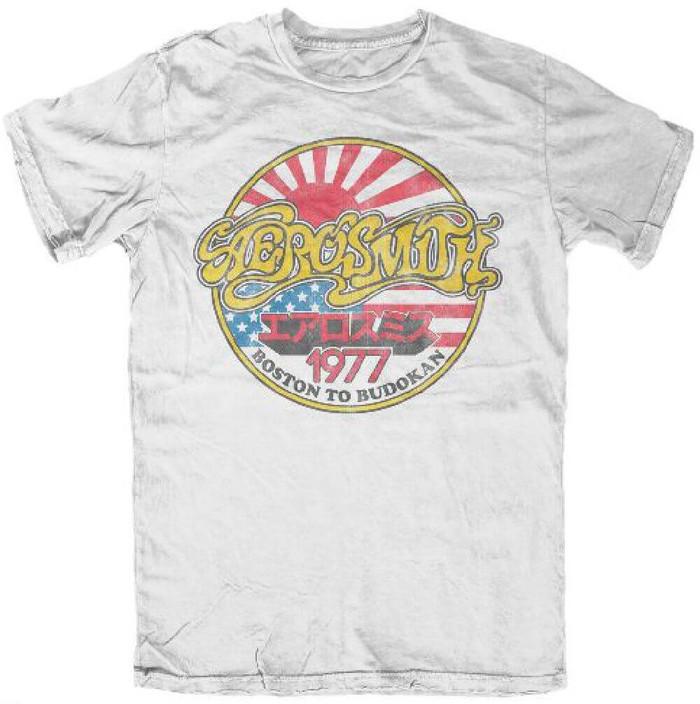 Aerosmith Boston to Budokan 1977 Concert Performance Tour Men's White Vintage T-shirt