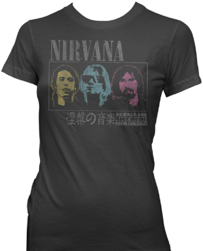 Nirvana Number One Rock Band from America Women's Japanese Concert  Vintage T-shirt