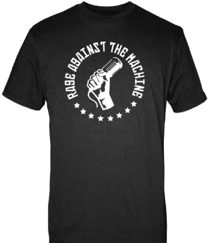 Rage Against the Machine Microphone in Fist Logo Men's Black T-shirt