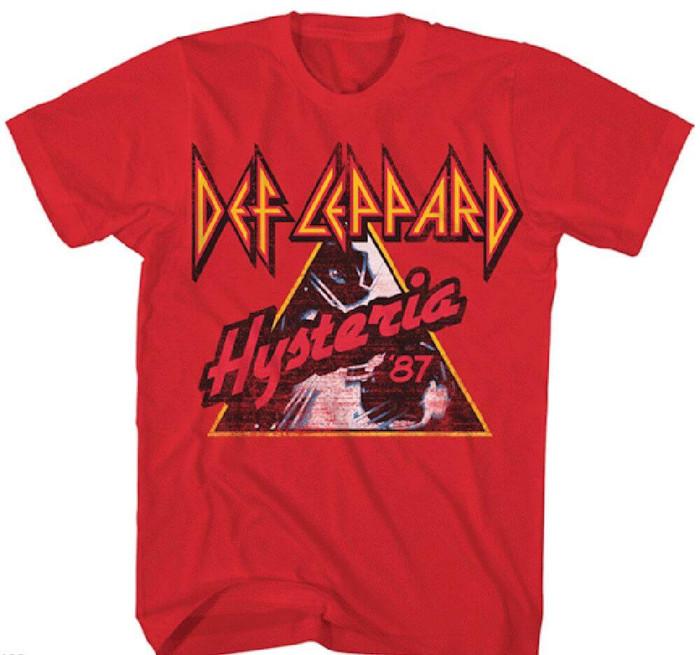 Def Leppard Hysteria 1987 Tour Men's Red Vintage Concert T-shirt