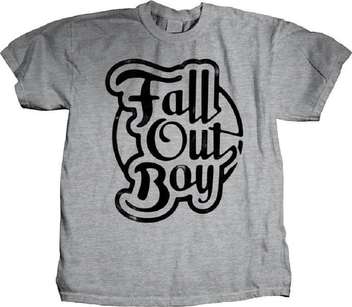 Fall Out Boy Script Style Logo Men's Gray T-shirt