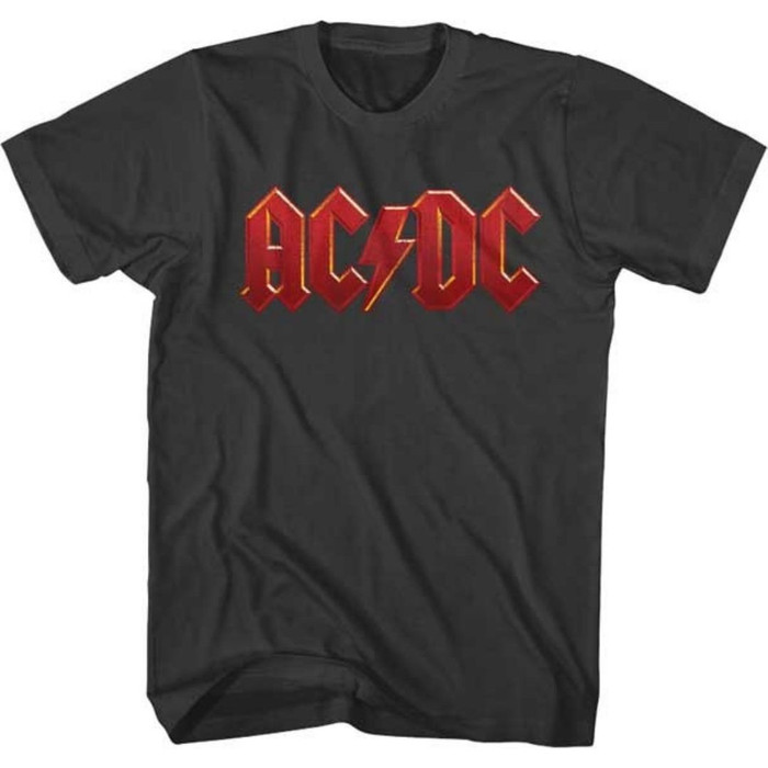 AC/DC Red Logo Men's Unisex Charcoal Gray T-shirt