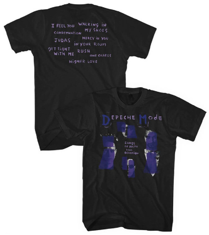 Depeche Mode Songs of Faith and Devotion Album Cover Artwork and Song Titles Men's Black T-shirt