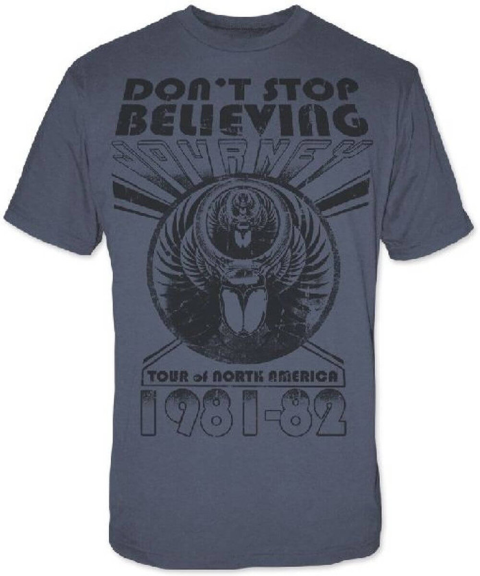 Journey Don't Stop Believing Tour of North America 1981-82 Men's Gray Vintage Concert T-shirt