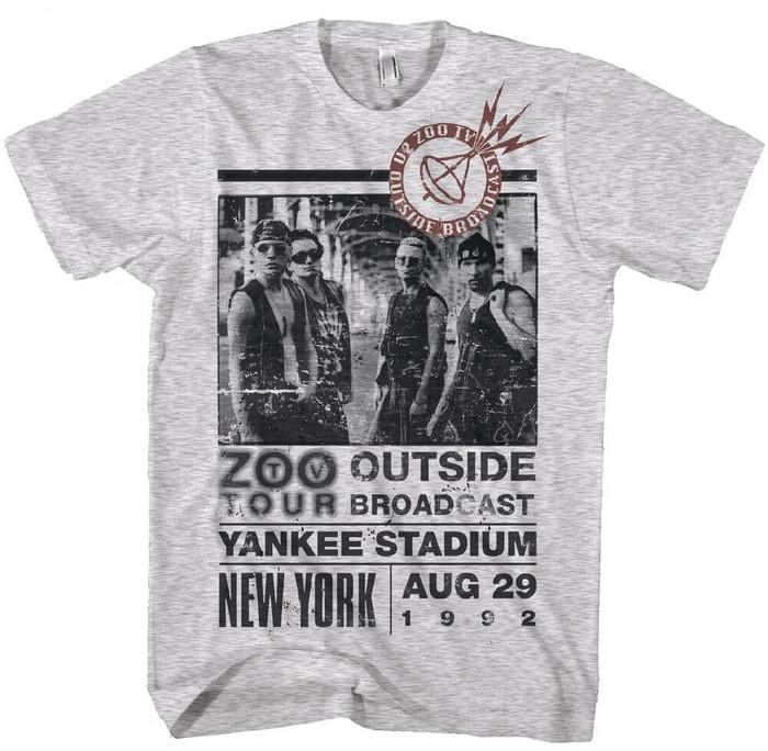 U2 Zoo TV Tour New York Yankee Stadium Men's Gray Vintage Concert T-shirt
