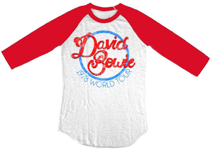 David Bowie 1978 World Tour White and Red Vintage Concert Baseball Jersey T-shirt