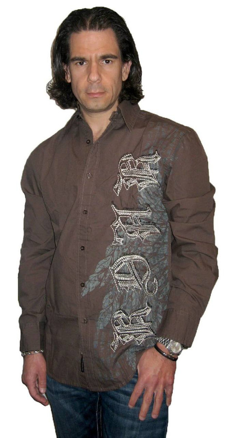 Roar Clothing Rebel Spade with Roar Clothing Logo and Winged Spade Graphics Men's Dark Gray Long Sleeve Button Up Shirt - Front