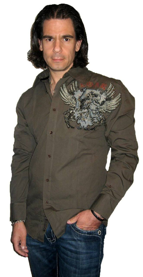 Roar Clothing Glory Bound Winged Crest with Rhinestones Men's Brown Long Sleeve Button Up Shirt - Front