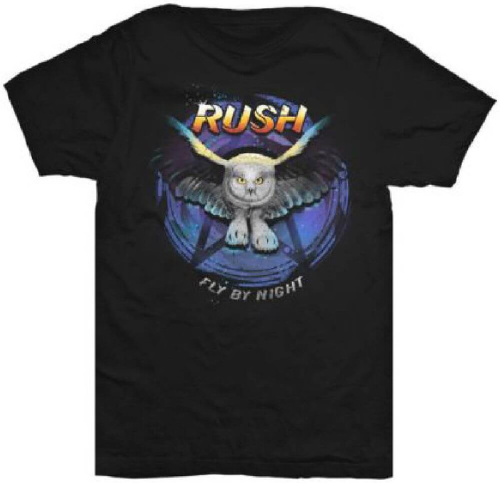 Rush Fly by Night Album Cover Artwork Men's Black T-shirt