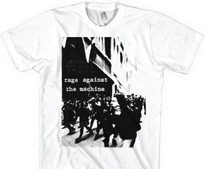 Rage Against the Machine Riot Photograph Men's White T-shirt