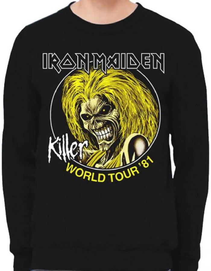 Iron Maiden Killer World Tour 1981 Black Vintage Concert Sweatshirt
