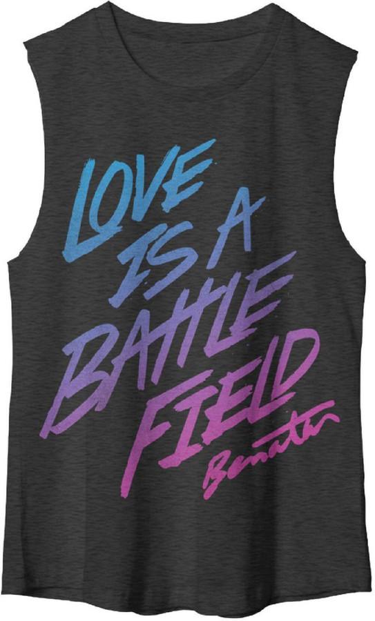 Pat Benatar Love is a Battlefield Women's Black Sleeveless Muscle T-shirt