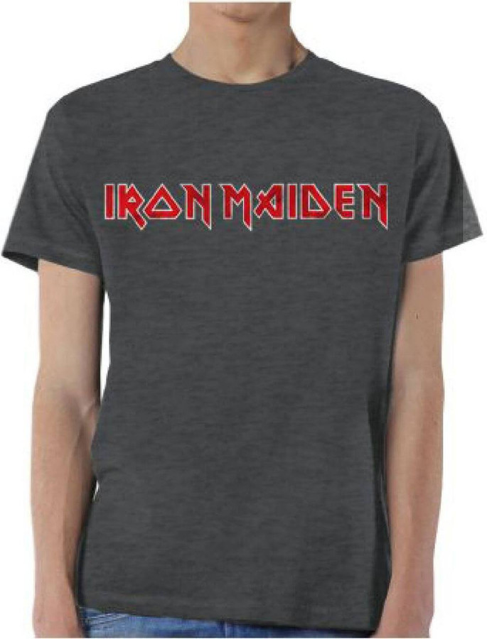 Iron Maiden Vintage Logo T-shirt - Men's Gray Shirt